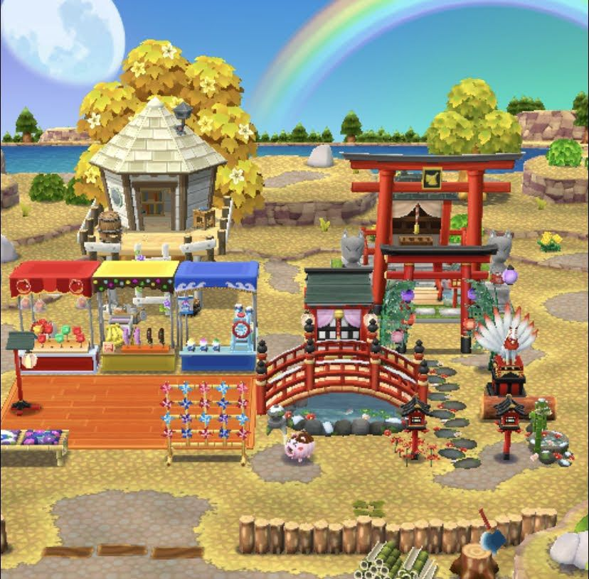 An Animal Crossing: Pocket Camp campsite that resembles a Japanese festival at a shrine