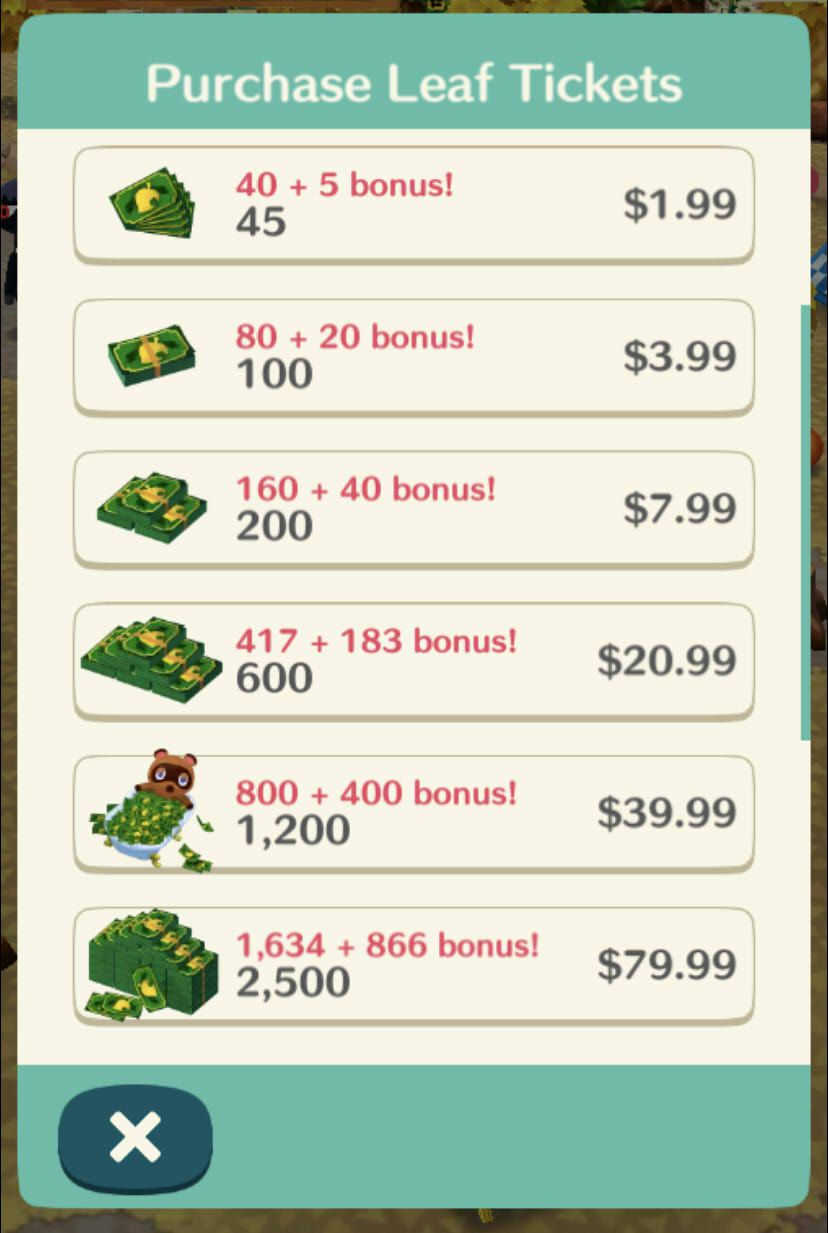 A menu showing the in-game screen when buying Leaf Tickets in Animal Crossing: Pocket Camp