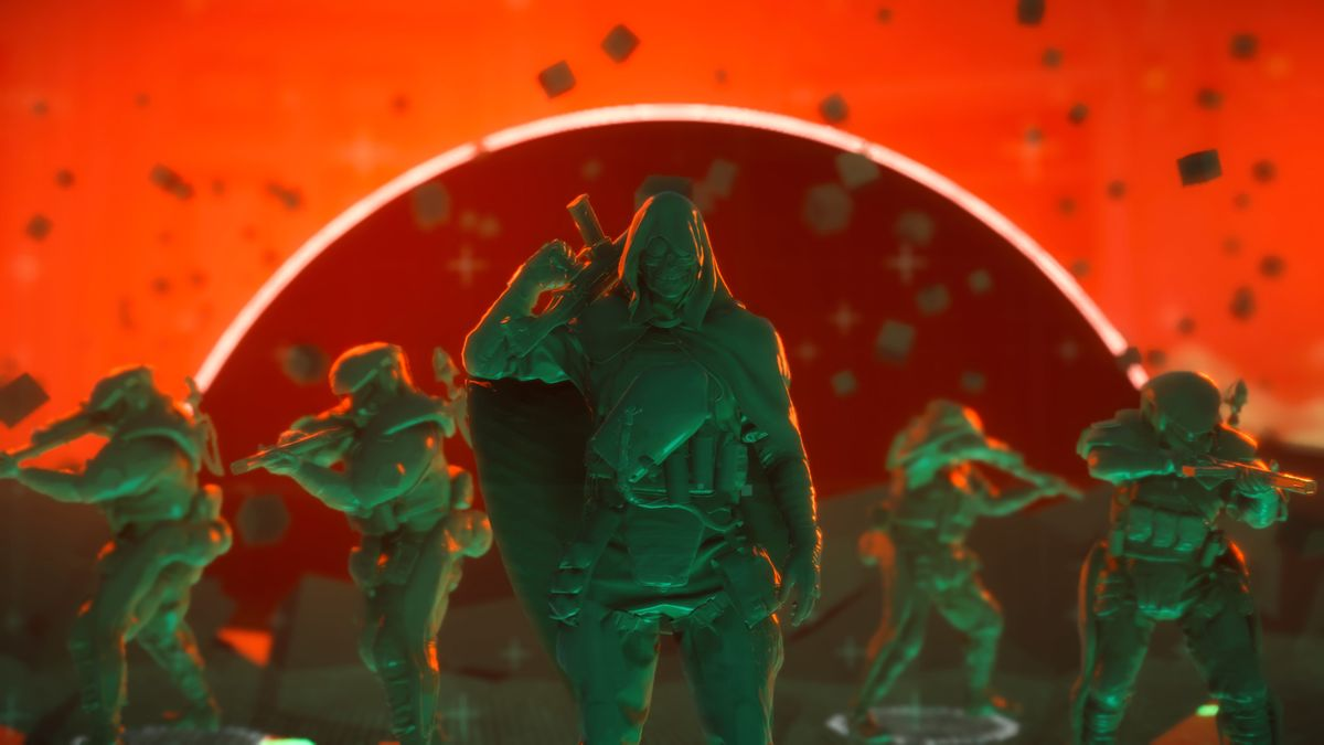 green plastic soldier toys with a bright red-orange background in Death Stranding