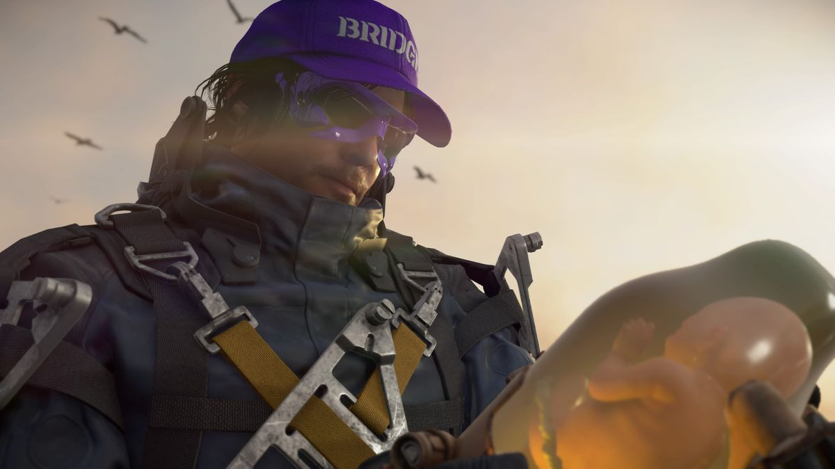 "Sam Bridges, a man in a futuristic spacesuit wearing a purple hat that says ""BRIDGES"" and purple-rimmed sunglasses, holding a baby in a jar in Death Stranding"