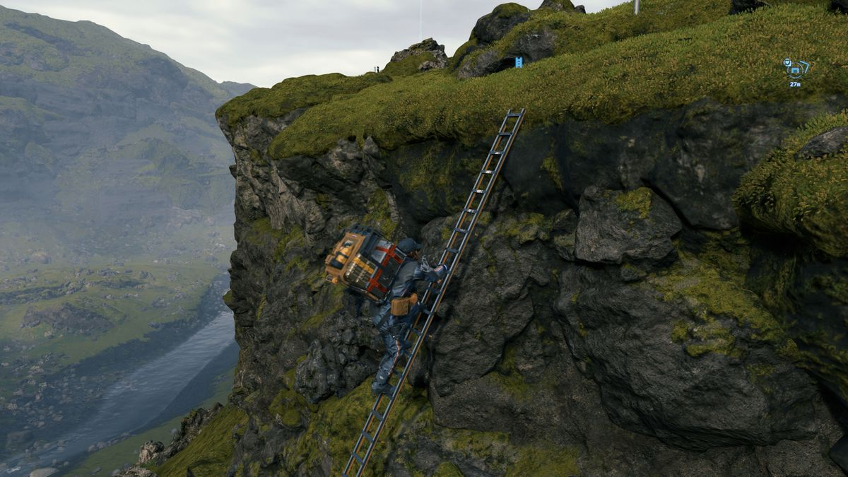 a man in a futuristic spacesuit wearing a delivery backpack, Sam Bridges, climbs a ladder leaning against a cliff in Death Stranding