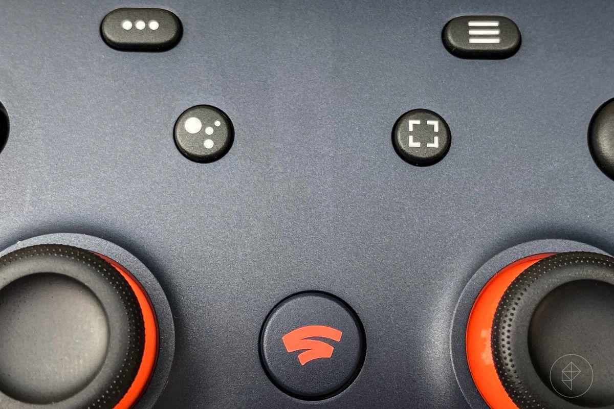 close up of Google Stadia controller