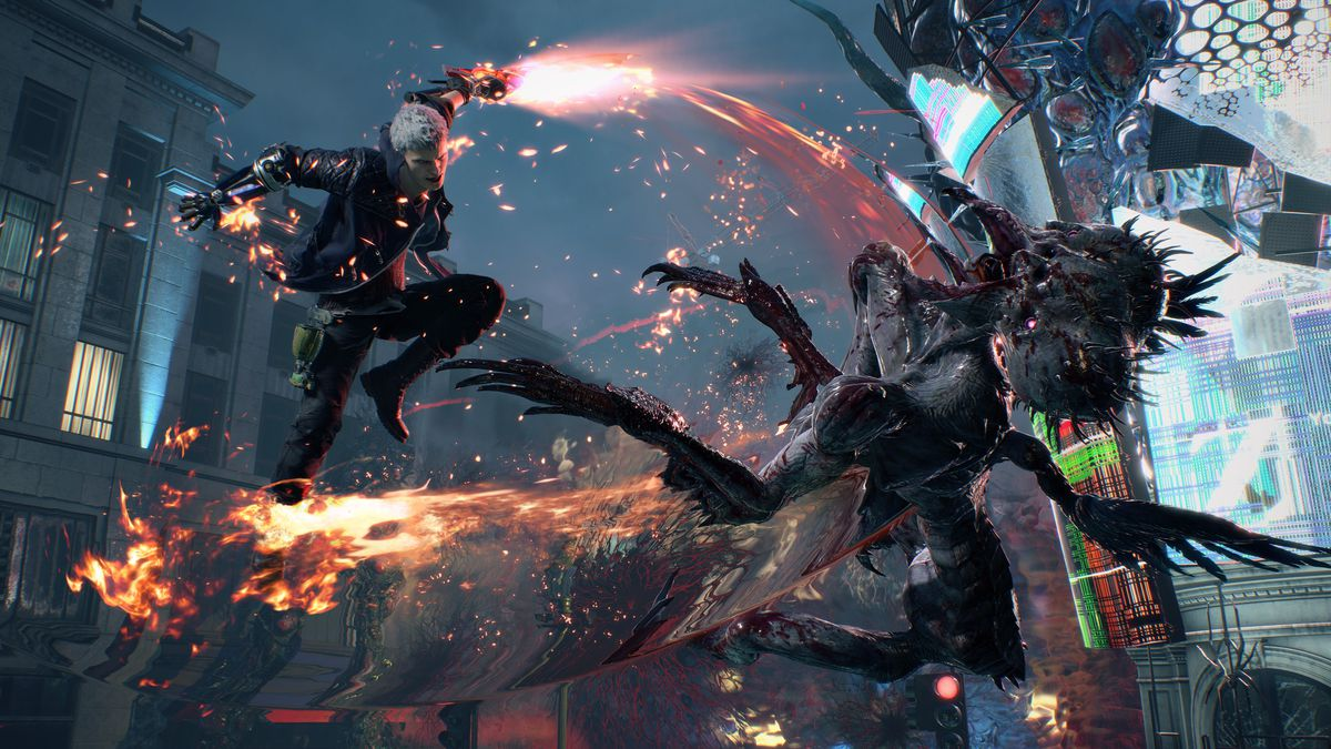 Nero slashes a demon in a screenshot from Devil May Cry 5
