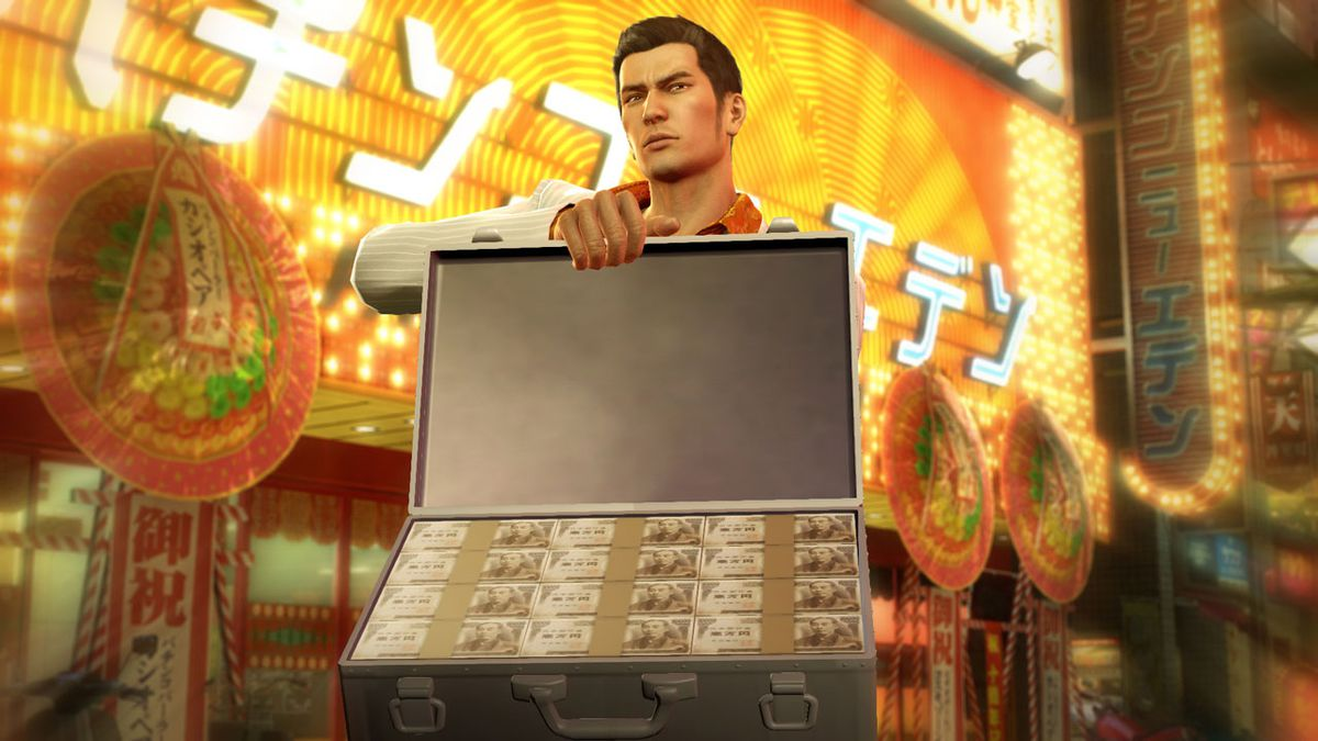 Yakuza 0 - Kiryu holding an open briefcase full of cash