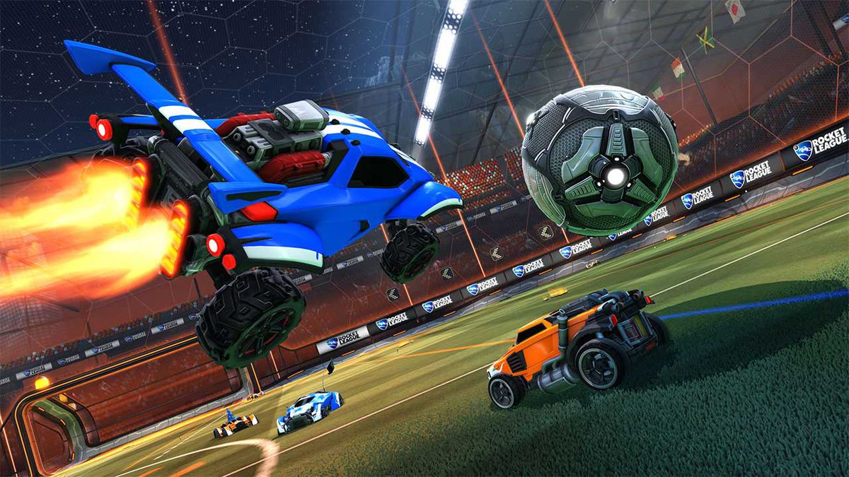 Rocket League - a blue car flying toward the ball in midair