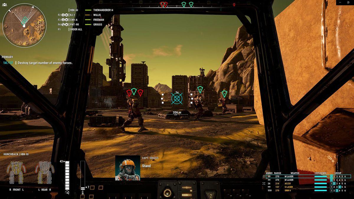 Three medium 'Mechs wander through the player's line of fire in MechWarrior 5
