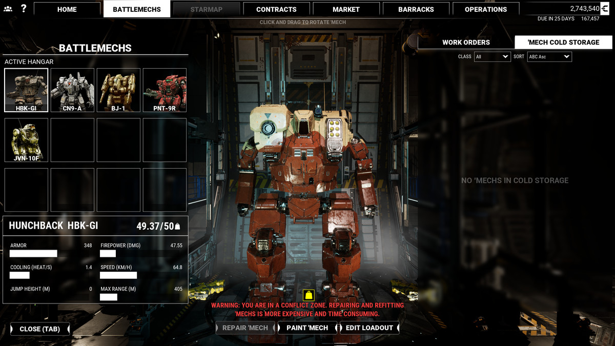 A squat 'Mech with big shoulders stands in the repair bay of a Leopard dropship, awaiting orders, in MechWarrior 5: Mercenaries