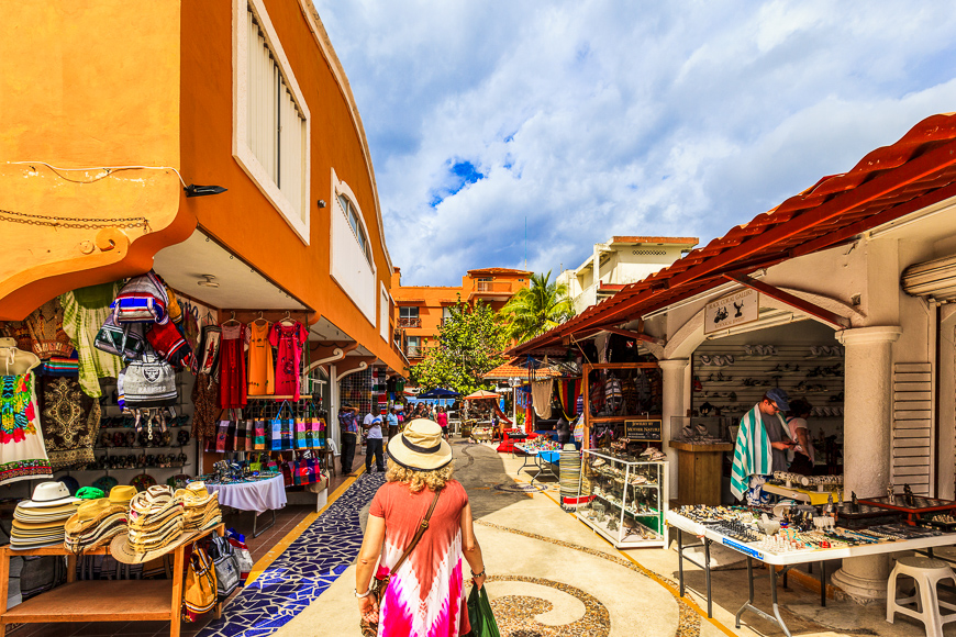 Colorful souvenir, coffee shops located in Cozumel, Mexico