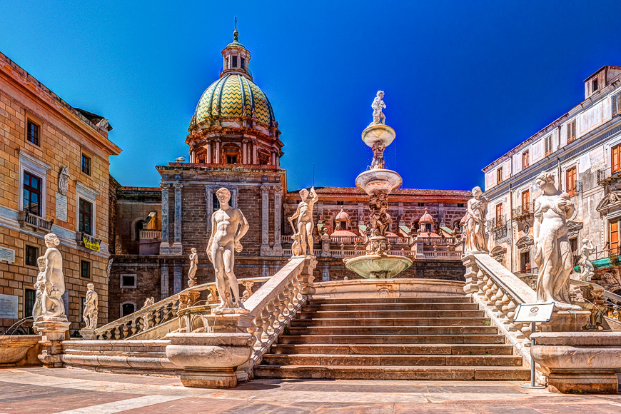 Famous fountain of shame on baroque Piazza Pretoria, Palermo, Sicily, Italy.