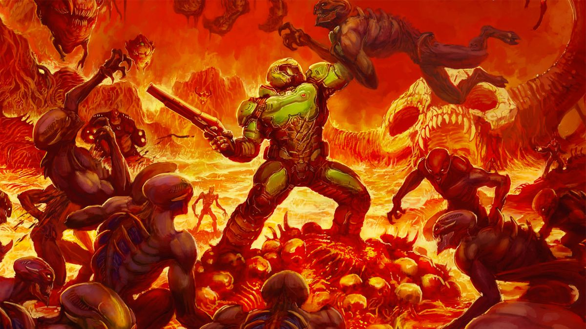 artwork of the Doomguy fighting hordes of demons