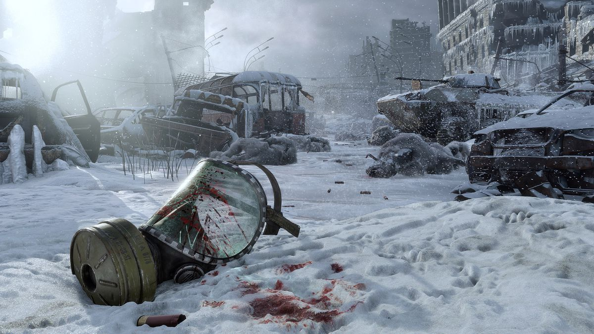 A screenshot of Metro Exodus with a bloody gas mask