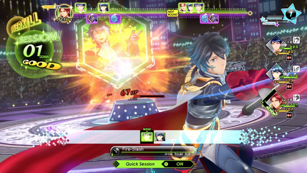Tokyo Mirage Sessions #FE Encore Itsuki delivers a combo during combat.