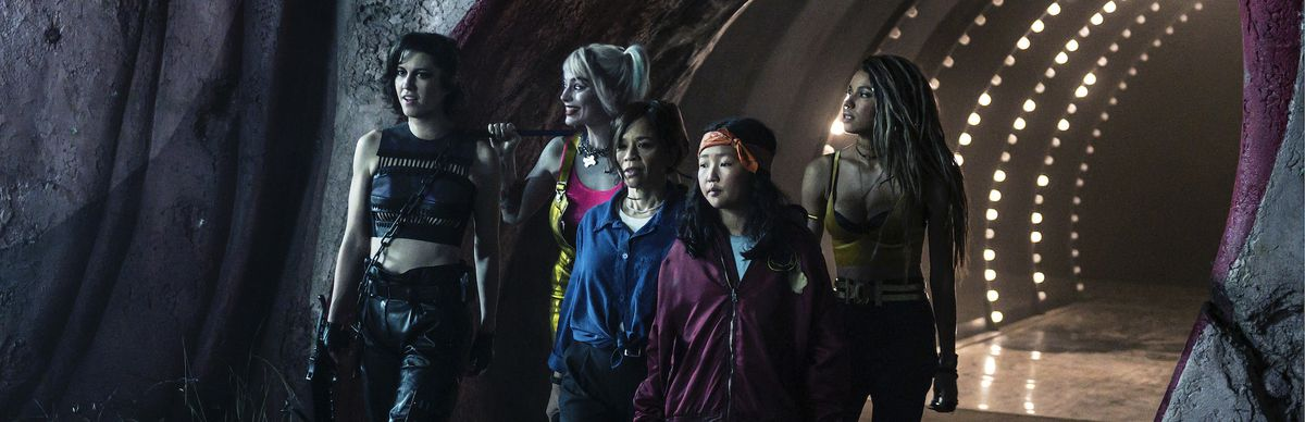 (L-r) MARY ELIZABETH WINSTEAD as Huntress, MARGOT ROBBIE as Harley Quinn, ROSIE PEREZ as Renee Montoya, ELLA JAY BASCO as Cassandra Cain and JURNEE SMOLLETT-BELL as Black Canary in walk out of a funhouse tunnel together in BIRDS OF PREY (AND THE FANTABULOUS EMANCIPATION OF ONE HARLEY QUINN).