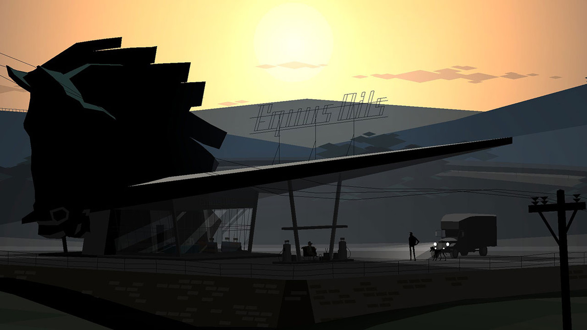 A gas station during a sunset in Kentucky Route Zero