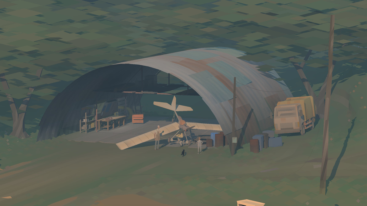 A propellor plane being fixed in a hanger in Kentucky Route Zero