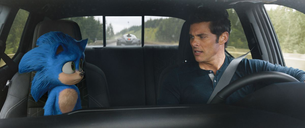 Sonic and Tom (James Marsden) on a road trip in Sonic the Hedgehog