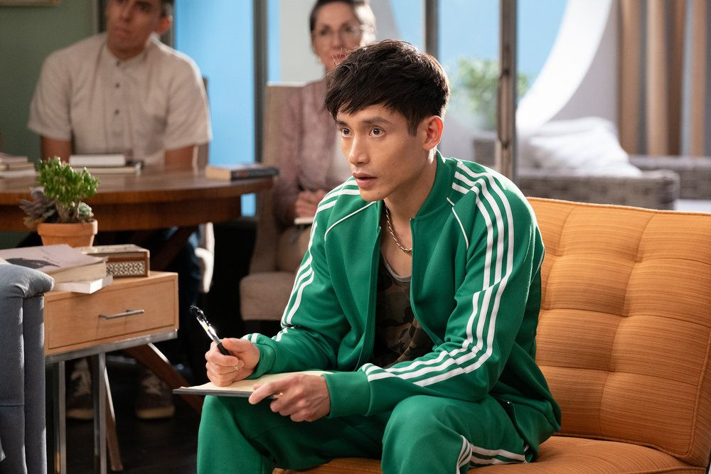"Jason (Manny Jacinto) takes notes in a screenshot from The Good Place season 4, episode 13, ""Whenever You're Ready"""