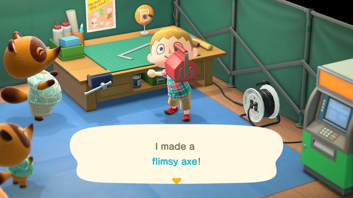 a blond-haired young man announces they made a flimsy axe in Animal Crossing: New Horizons