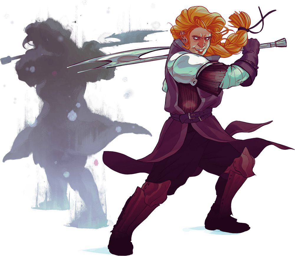 A red-haired warrior wearing a purple tabbard, chainmail, and greeves swings a thin silver axe. Behind him his own shadow mirrors his movements.