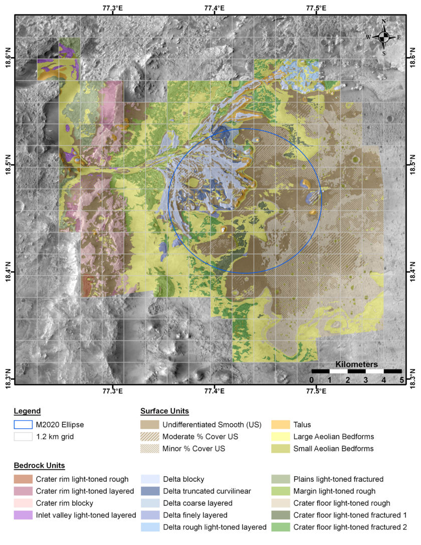 Early 2020 geologic map of Jezero crater