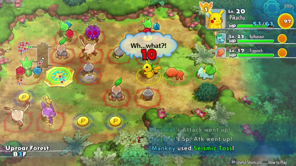 A dungeon full of enemies in Pokemon Mystery Dungeon.