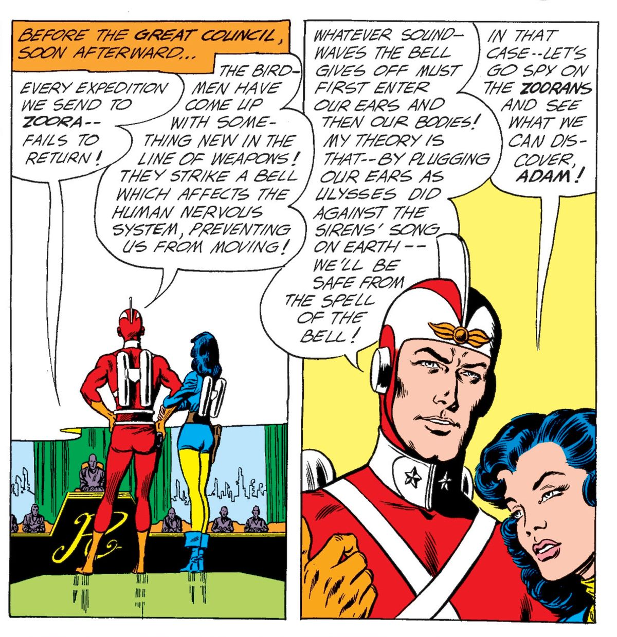 Adam Strange and Alanna confer with the Great Council of Rann on what to do about some bird-men who have learned the power of mind control, in Mystery in Space #75, DC Comics (1962).