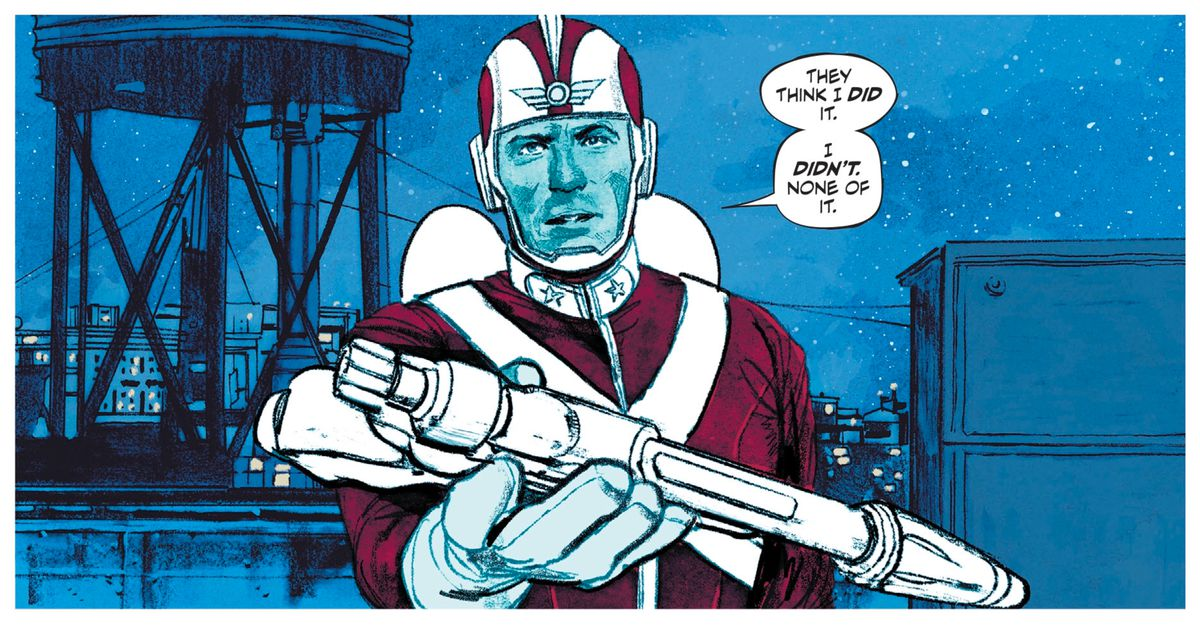 """On a rooftop on a starry night, Adam Strange hands tries to hand his ray gun to Batman, saying """"The think I did it. I didn't. None of it,"""" in Strange Adventures #1, DC Comics (2020)."""