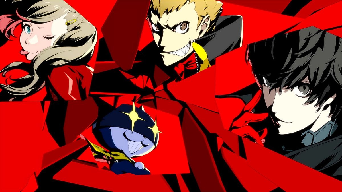 The start of the All-out-attack animation in Persona 5 Royal, featuring Ann, Ryuji, Morgana and Joker.