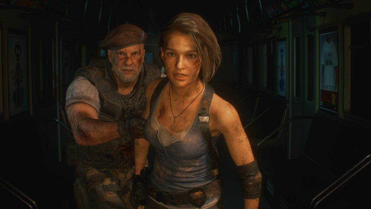 A shot of Jill Valentine and Mikhail Viktor in a subway car from Resident Evil 3 remake