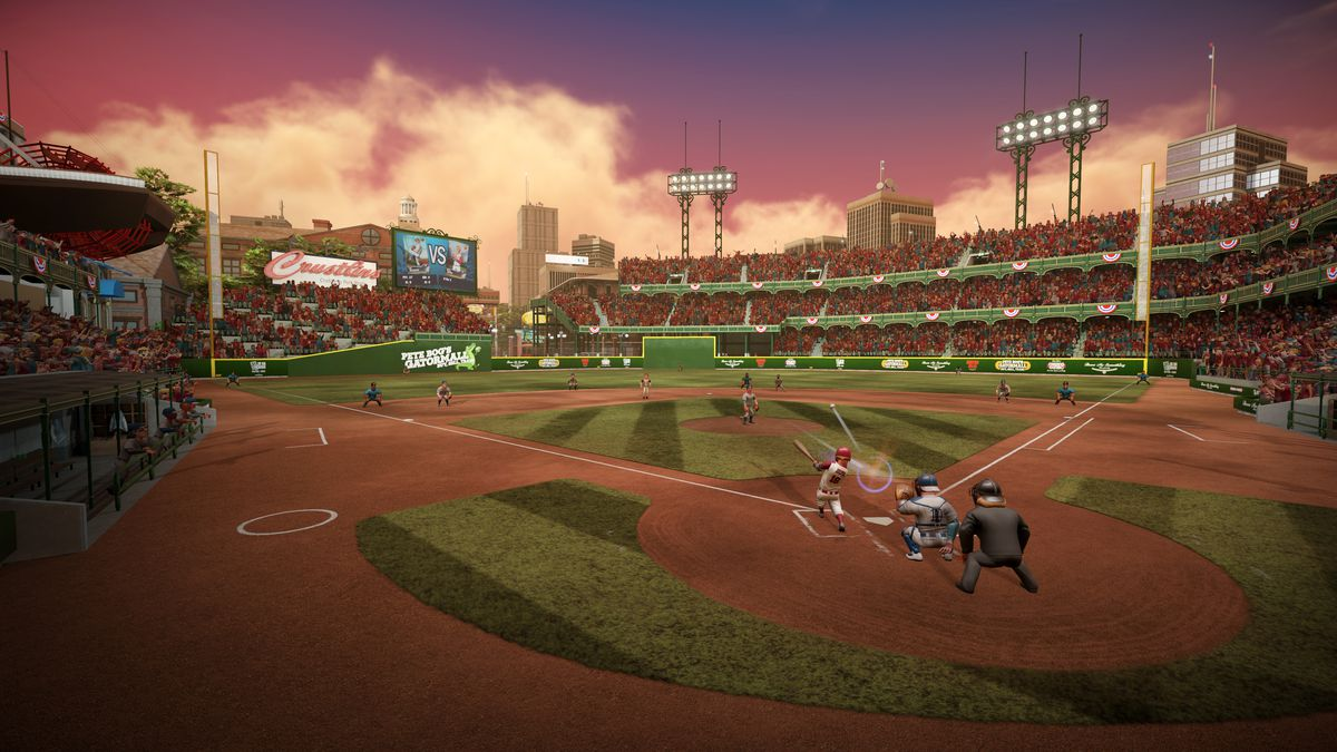 a wide shot from the stands behind home plate of a game being played at dusk in Super Mega Baseball 3