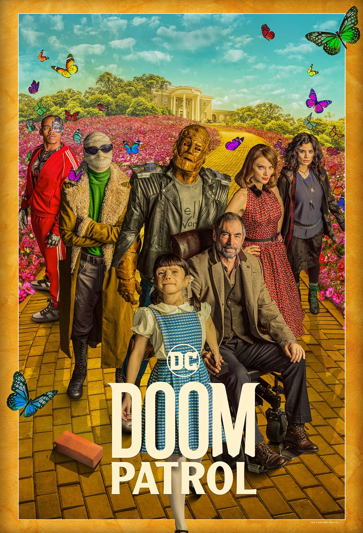 Cyborg, Negative Man, Robotman, Rita Farr, Crazy Jane, Danny the Brick, Dorothy Spinner, and the Chief on a poster for Doom Patrol season 2.