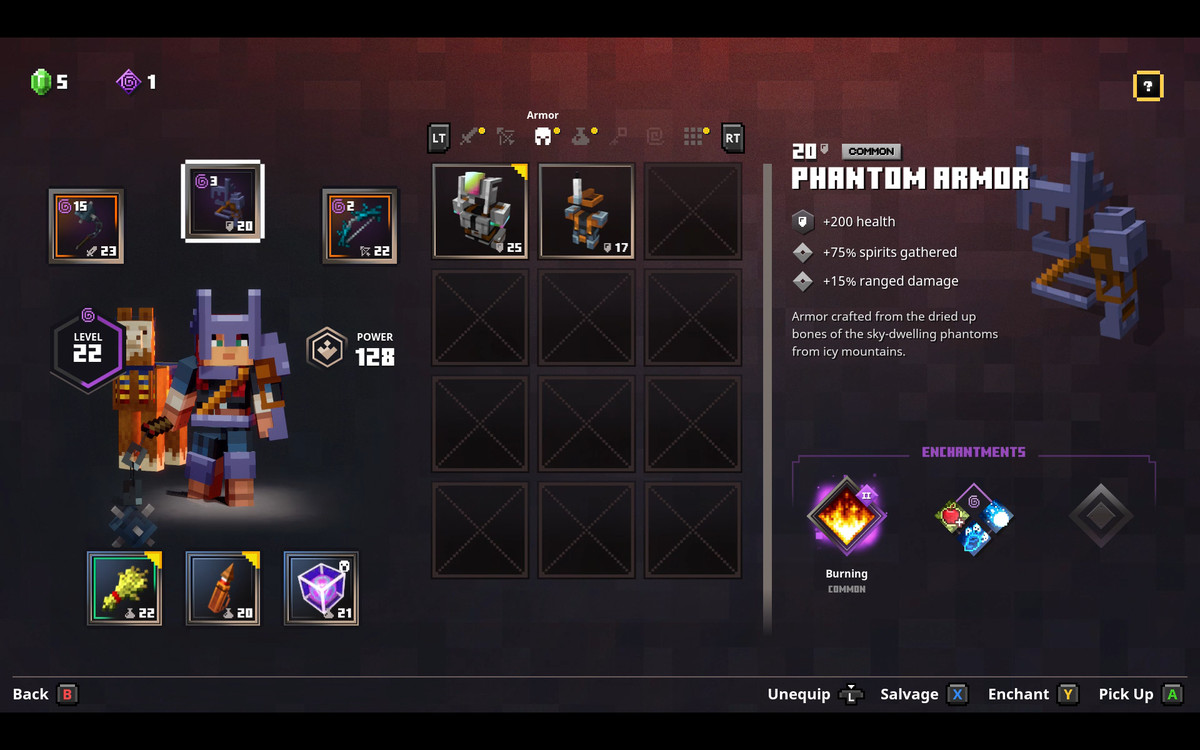 The inventory screen from Minecraft Dungeons, showing a simple interface