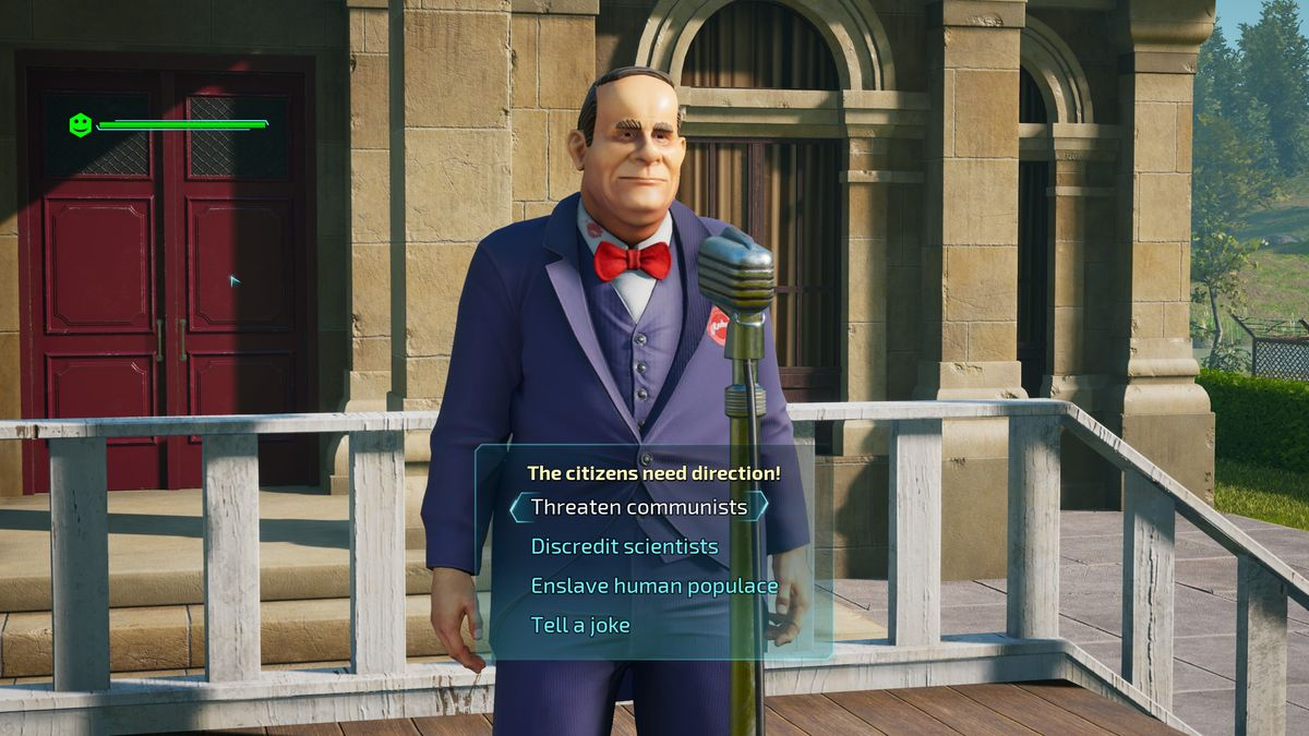An alien disguises itself as the mayor of a small town in Destroy All Humans.
