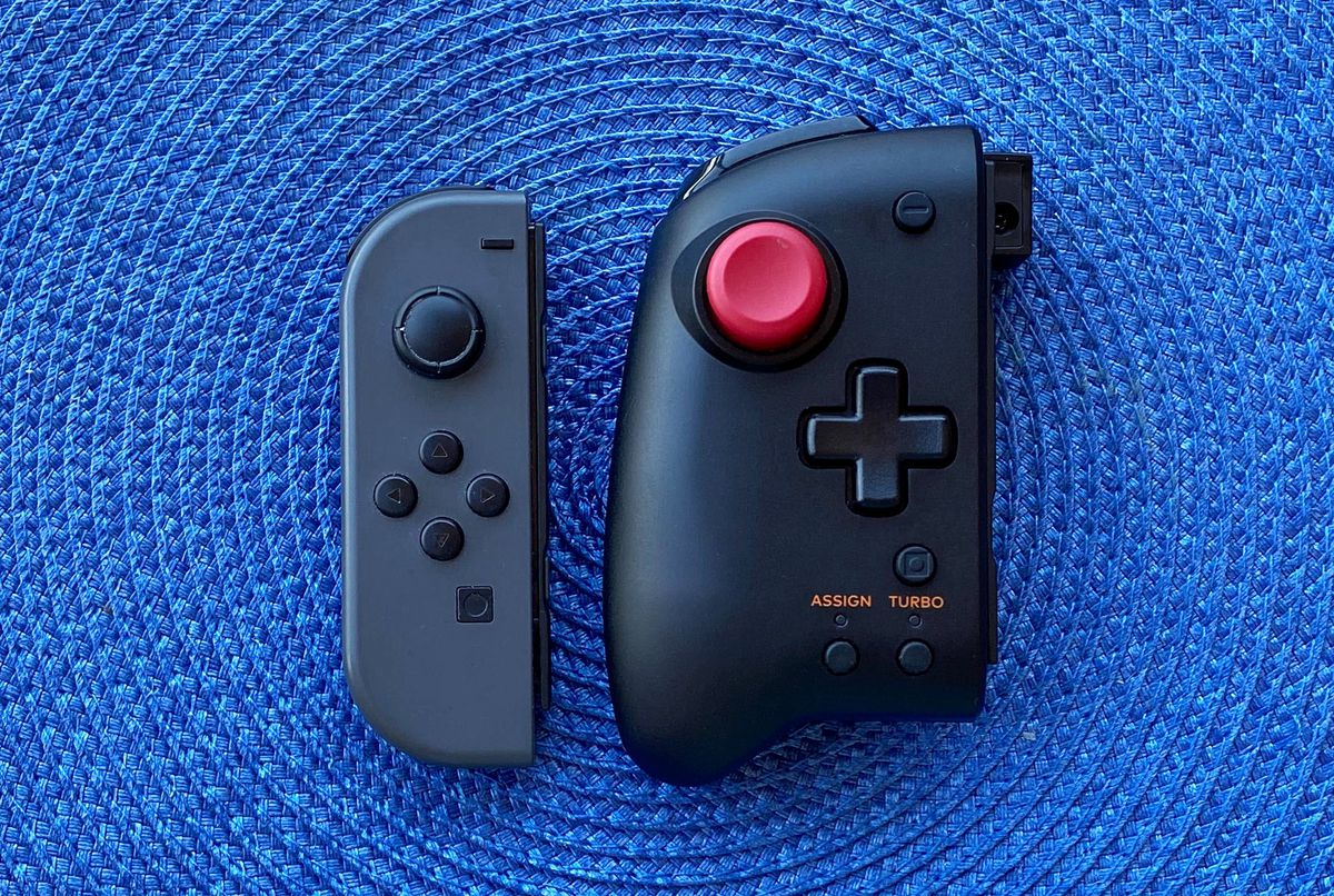 The Hori Split Pad Pro with a Nintendo Joy-Con