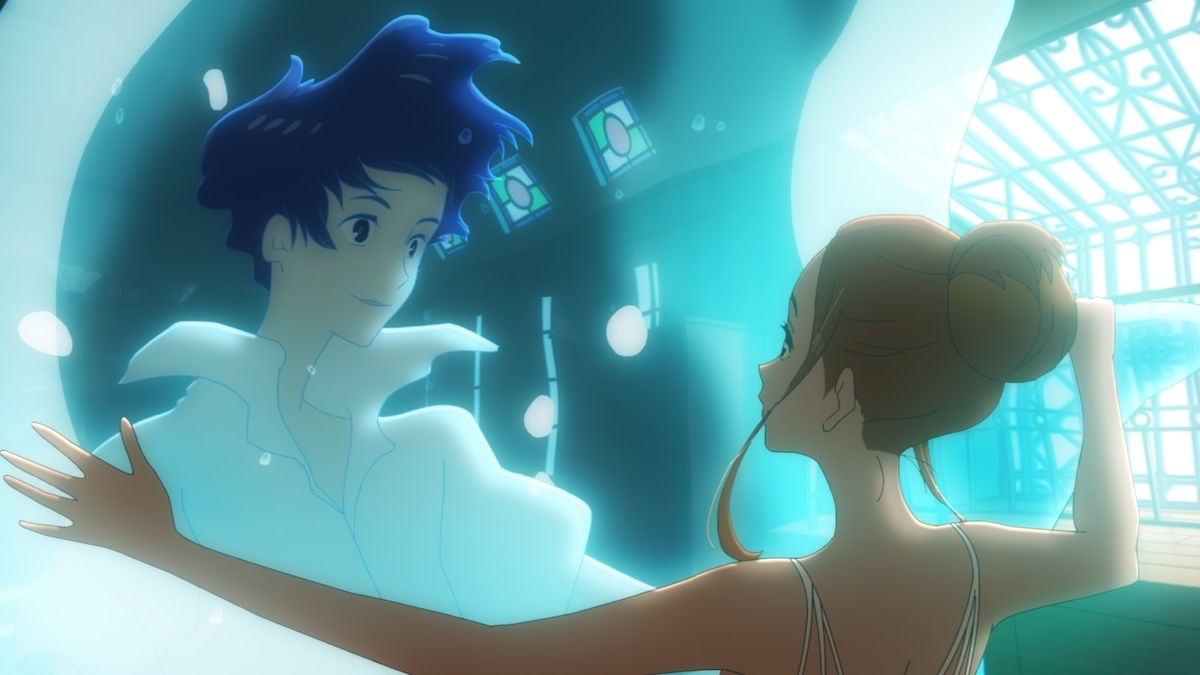 Hinako sees Minato in a wave of water in Ride Your Wave.