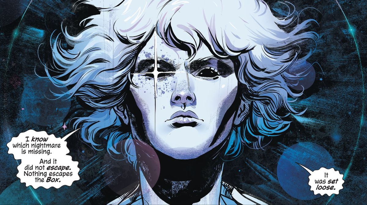 """""""I know which nightmare is missing,"""" says Dream/Daniel in The Dreaming: Waking Hours, """"And it did not escape. Nothing escapes the Box. It was set loose."""" DC Comics (2020)."""