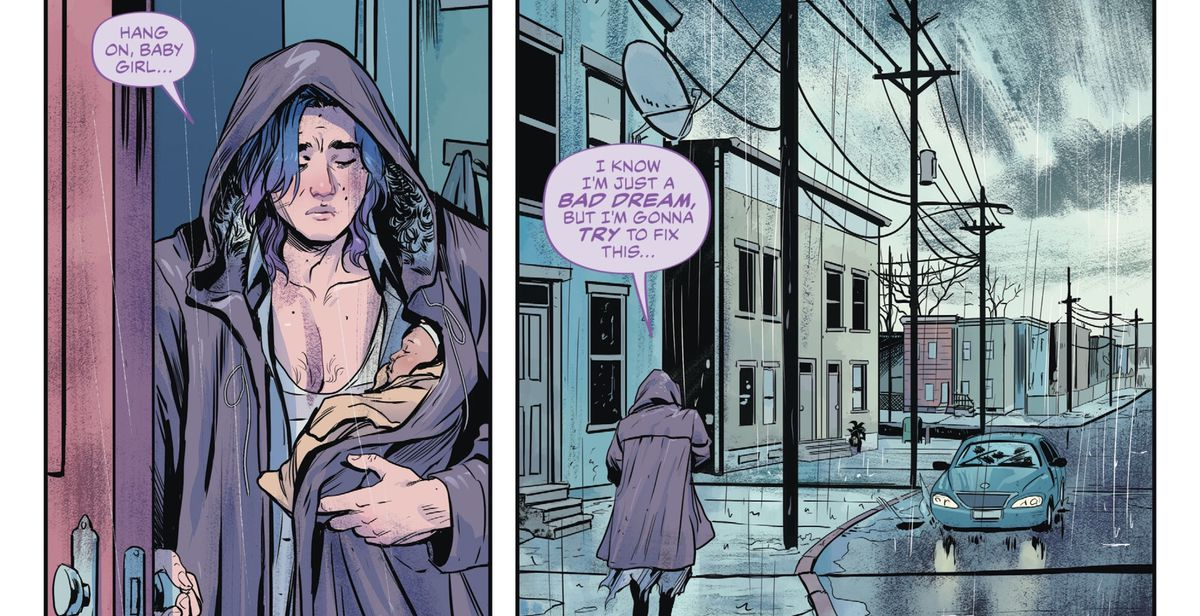 """Ruin, a nightmare, walks out in to the rain with the infant Anne. """"I know I'm just a bad dream, but I'm gonna try to fix this,"""" he tells her, in The Dreaming: Waking Hours #1, DC Comics (2020)."""
