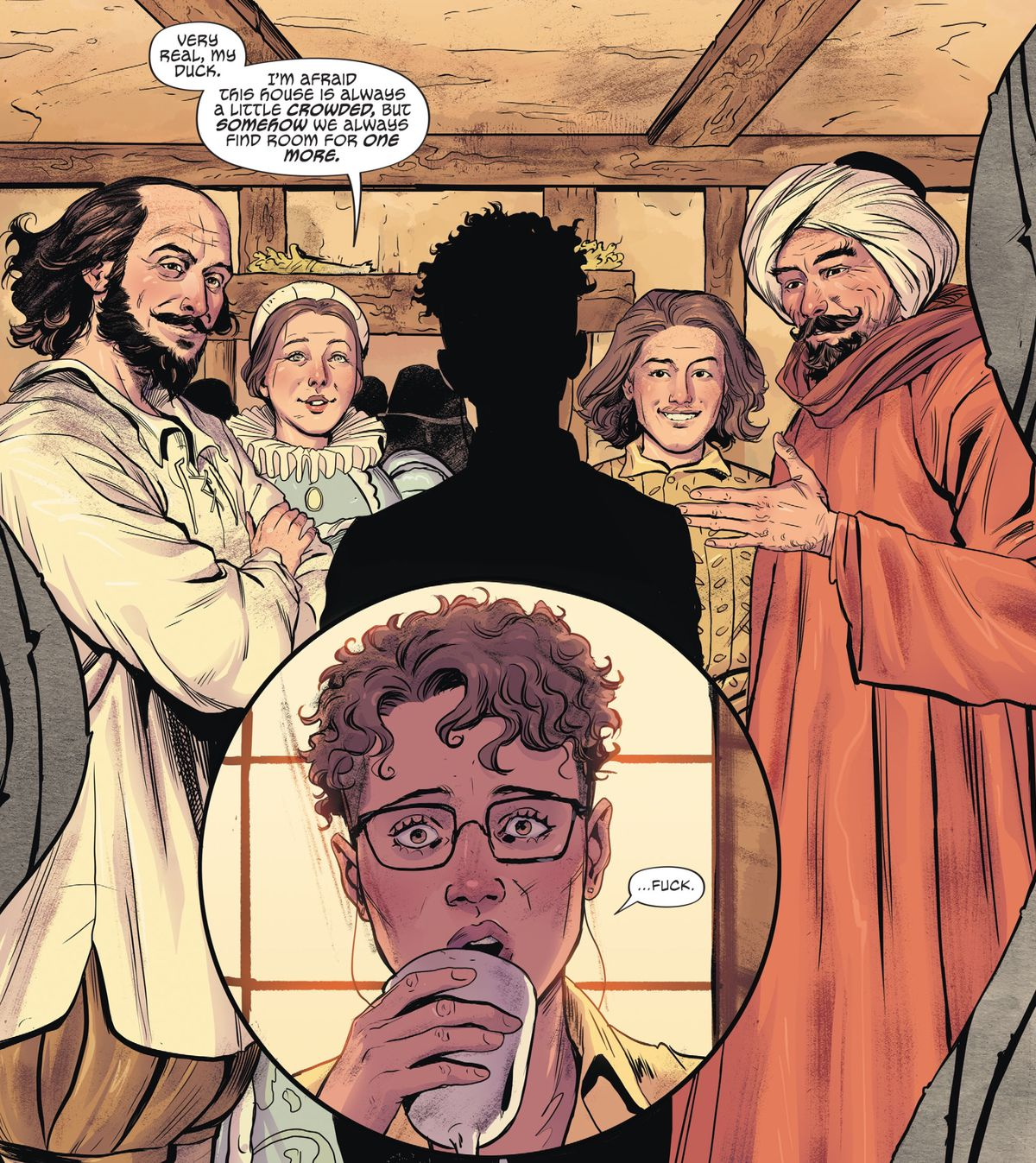 Lindy comes face to face with William Shakespeare, Anne Hathaway, Kit Marlowe, and Shaykh Zubayr bin William in a dream in The Dreaming: Waking Hours, DC Comics (2020).