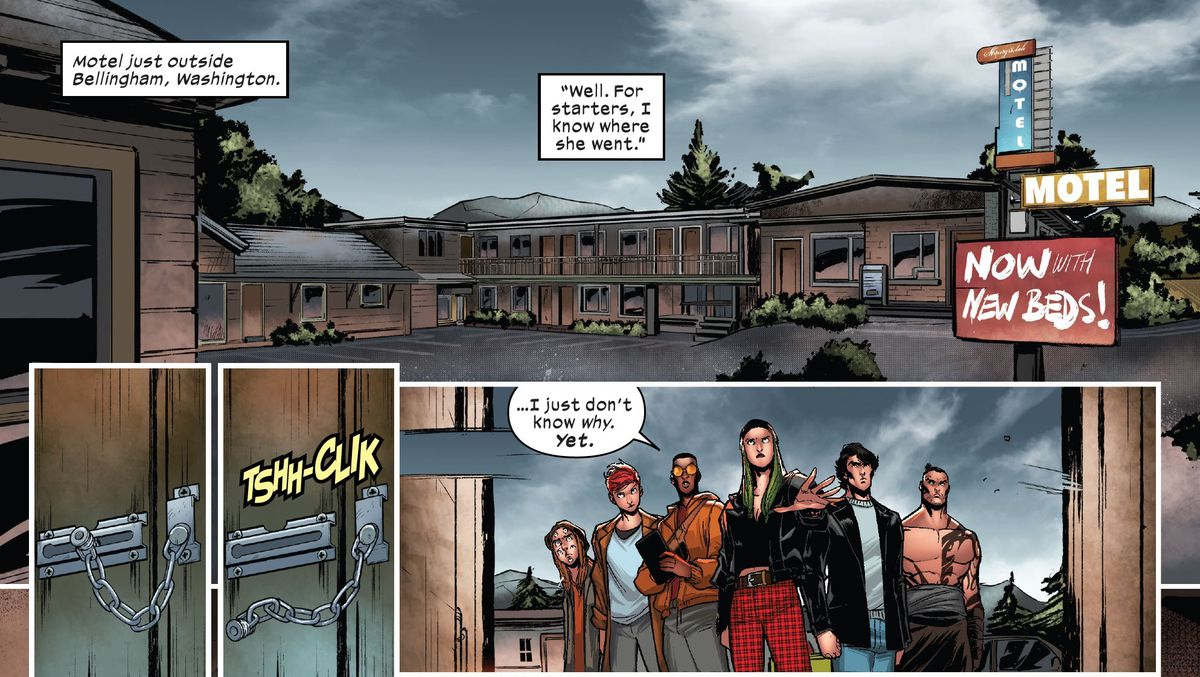 """I know where she went,"" Polaris says as she opens a motel door, flanked by the rest of X-Factor, ""I just don't know why yet."" in X-Factor #1, Marvel Comics (2020)."