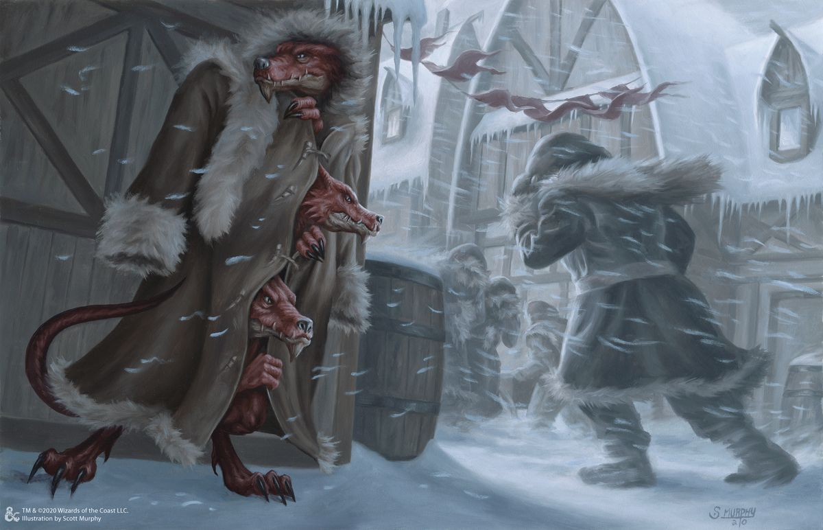 Three kobolds in a trench coat.