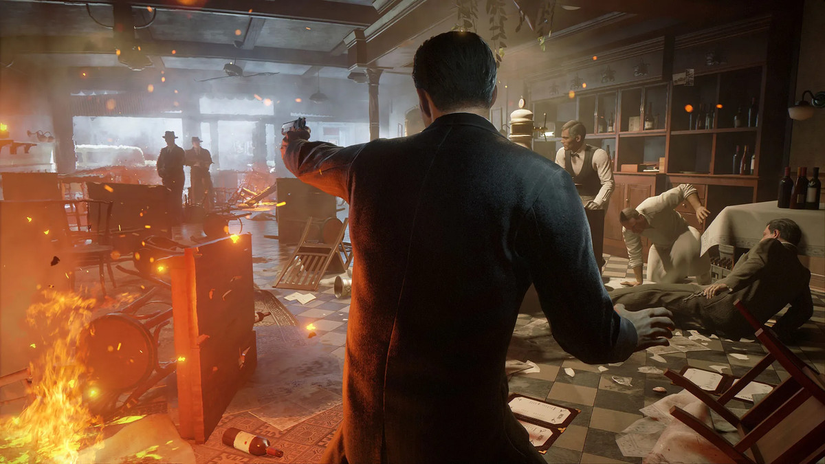 A gunfight takes place among a burning shop