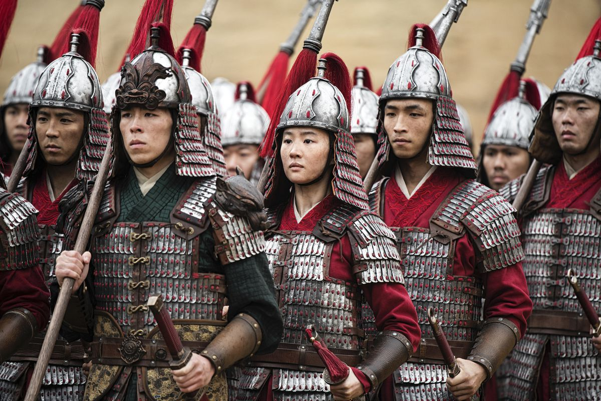 a group of soldiers in armor in Mulan