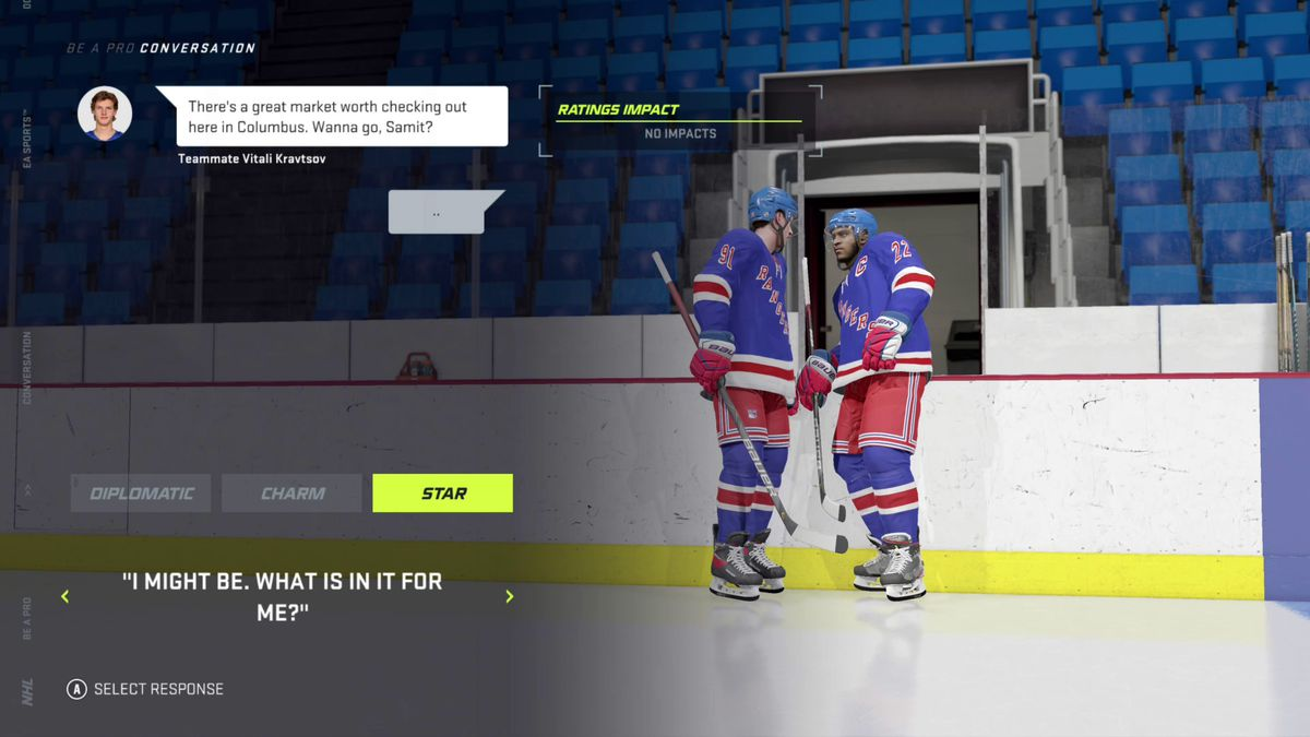 """the player in NHL 21's Be a Pro mode being asked if he's interested in visiting a market in Columbus, Ohio, and responding with, """"I might be. What is in it for me?"""""""