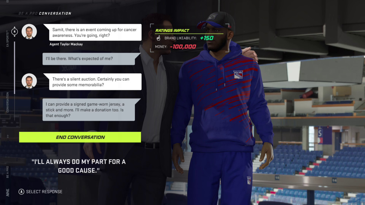 a conversation in NHL 21's Be a Pro mode between New York Rangers player Samit Sarkar and his agent, Taylor Mackay, about attending an event for cancer awareness
