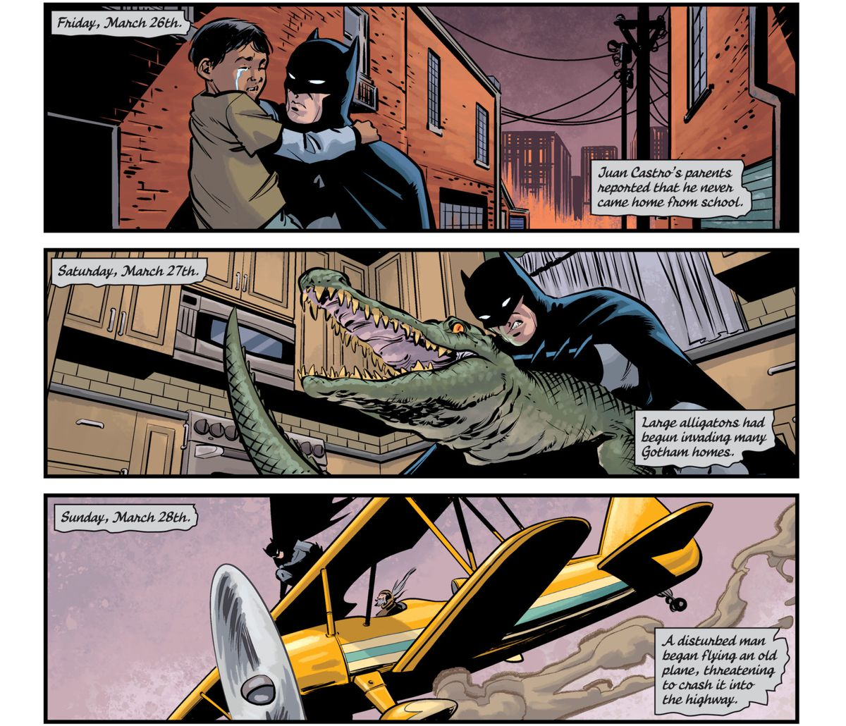 """Batman rescues a lost child, the next day he wrestles an alligator that invaded a Gotham home, and the next he stopped """"a disturbed man"""" flying """"an old plane, threatening to crash it into the highway,"""" in Batman Annual #4, DC Comics (2019)."""