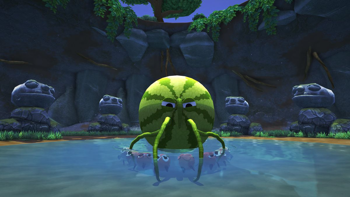 A giant watermelon with tentacles, surrounded by gigantic sculptures that look like large Muppets.