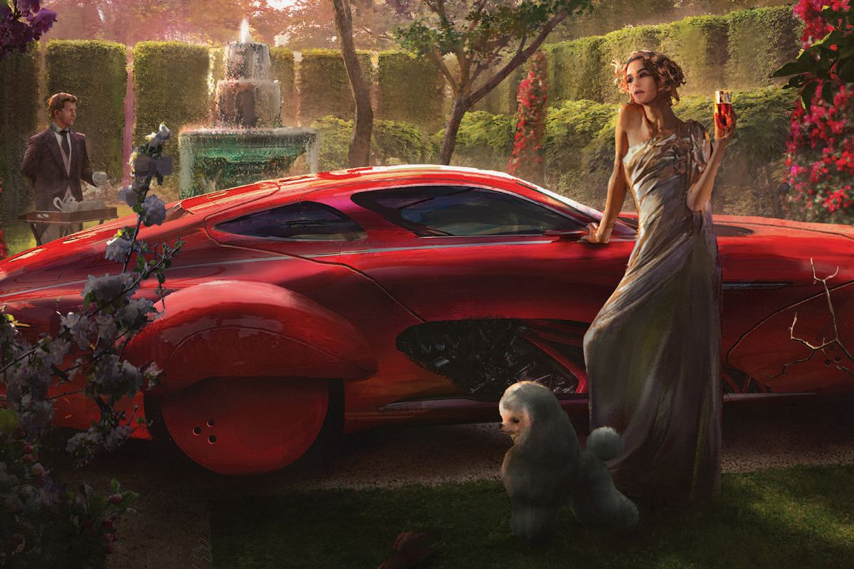 A woman in a lavish garden stands in front of a red car, her poodle in the foreground.