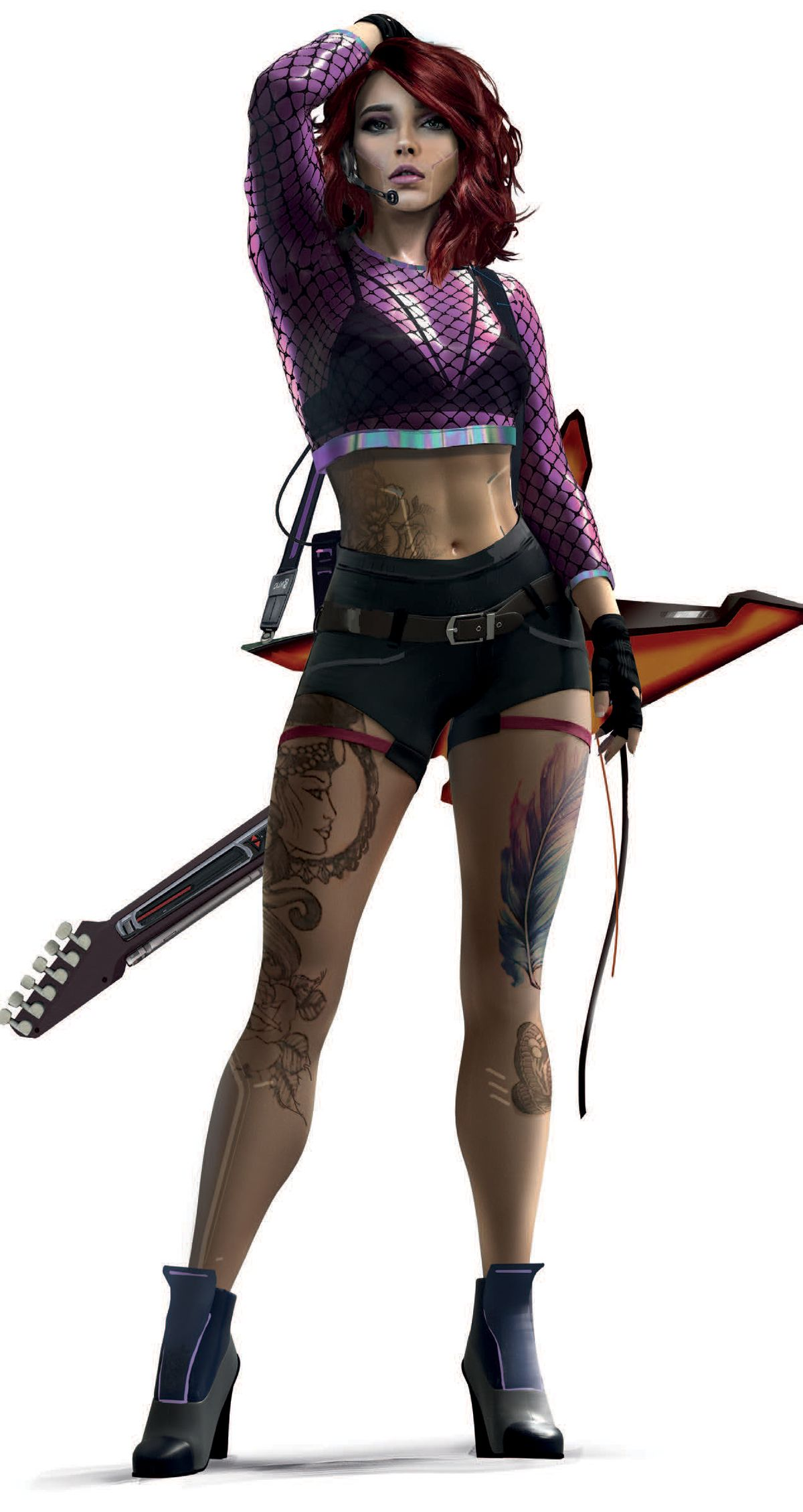 A tattooed woman with a guitar and a microphone headset.