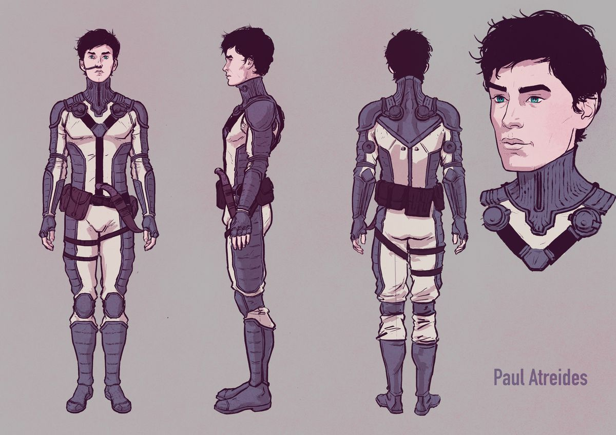 Concept art for Paul in his stillsuit in Dune: The Graphic Novel — Book 1