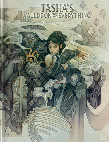 A pale beige cover, featuring Tasha casting spells over a bony cauldron.